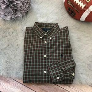Ralph Lauren Green Brown Plaid Shirt Buttondown L